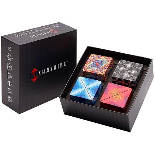 SHASHIBO Gift Box of 4- The Shape Shifting Box (36 Rare Earth Magnets) STEM/STEAM Fidget Geometric 3D Magnetic Transforming Magnetic Box Magic Cube