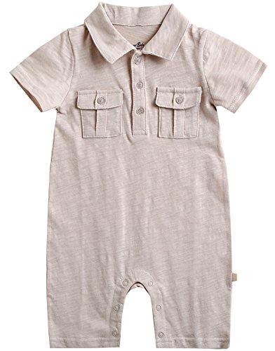 vaenait Baby 56–80 sau TONGLING Macaron Combinaison Grenouillère à manches longues Jeu pour bébé Sky - Beige - L