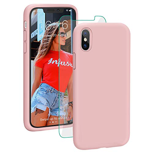 ProBien Case for iPhone XS Max, Silicone Rubber Shockproof iPhone Max Cover Full Protective Bumper Shell with Free Tempered Screen Protector for iPhone XS Max 6.5' (2018)-Sand Pink