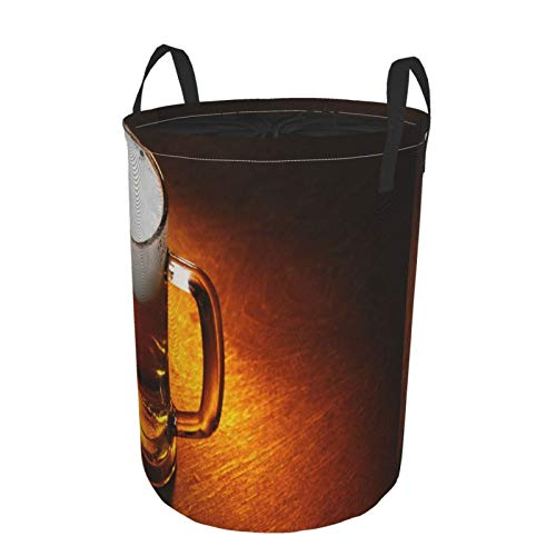 Janrely Large Round Storage Basket with Handles,Mug of Beer Close Up On Wooden Table,Waterproof Coating Organizer Bin Laundry Hamper for Nursery Clothes Toys 21.5'x 16.5'