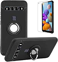 TCL 10 5G UW Case with Tempered Glass Screen Protector, Rotating Ring [Magnetic Car Mount] [360°Kickstand] Holder [Fashio...