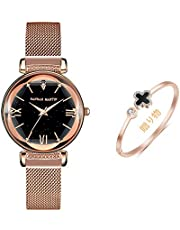 Hannah Martin レディース 腕時計 シチズン 運動 メッシュ 磁気 バックル ストラップ星空のオーロラダイヤル