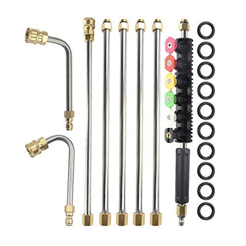 DONDOW アップグレード版の圧力洗濯機拡張ワンドセット、6スプレーノズルのヒントデザイン、Uカーブロッド、1/4インチクイックコネクト4000 PSIと交換