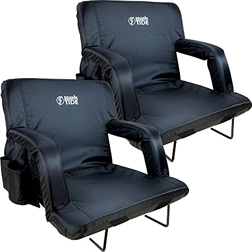 Brawntide Stadium Seat with Back Support - 2 Pack, Comfy Cushion, Thick Padding, 2 Steel Bleacher Hooks, 4 Pockets, Ideal Stadium Chair for Bleachers, Sporting Events, Camping (Black, Regular Size)