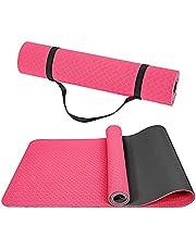 Wpond Yogamat, antislip fitnessmatten TPE Eco-vriendelijke pad met draagriem voor yoga, pilates gymnastiek en thuisvloer, gym 183 x 61 x 0,6 cm