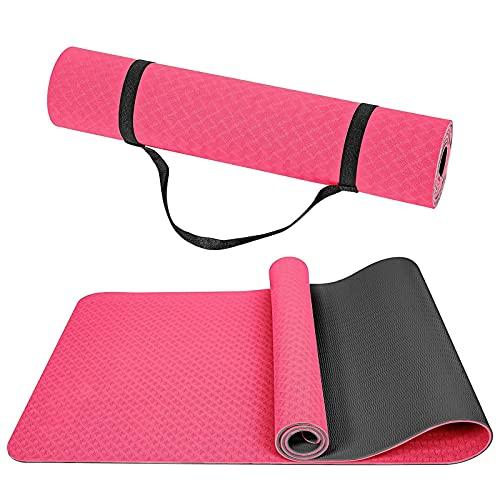 Wpond Tapis de yoga antidérapant en TPE respectueux de l'environnement avec sangle de transport pour yoga, pilates, gymnastique et gymnastique à la maison 183 x 65 x 0,6 cm - Noir et rouge