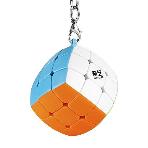 Coogam Qiyi Cube Keychain 3x3 Mini Pocket Speed Cube Key Ring Keyring Puzzle Fidget Toy 1.38in