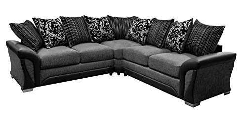 Shannon Black and Grey Fabric and Chenille Designer Sofa Settee Couch Corner Group by Shannon