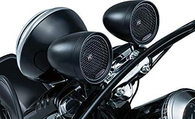Kuryakyn 2713 MTX Road Thunder Weather Resistant Motorcycle Speakers: 100 Watt Handlebar Mounted Audio Speaker Pods with Bluetooth Audio Controller, Satin Black