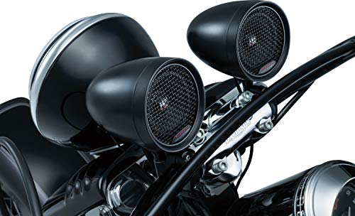 Kuryakyn 2713 MTX Road Thunder Weather Resistant Motorcycle Speakers: 100 Watt Handlebar Mounted Audio Speaker Pods with Bluetooth Audio Controller, Satin Black