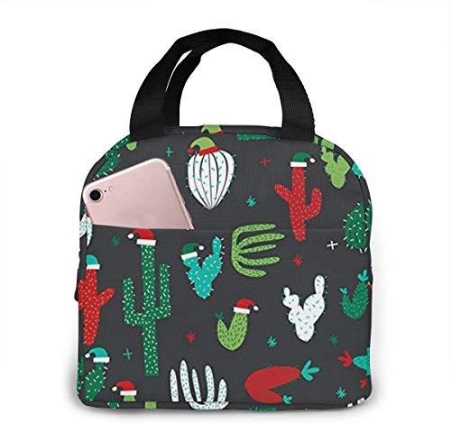 Bolsa de almuerzo con gorro de Papá Noel de cactus de Navidad para mujeres,niñas,niños,bolsa de picnic aislada,bolsa gourmet,bolsa cálida para el trabajo escolar,oficina,camping,viajes,pesca