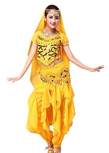 Crystallly dames buikdanskostuum Indiase danskleding 4-delig met gouden pailletten bovendeel sluierheupdoek broek Belly Indian Dance Costumes carnaval kostuum