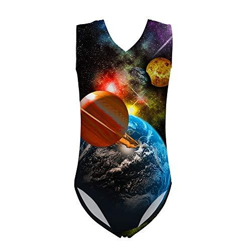 HUGS IDEA Milky Way Einteiler Badeanzüge Galaxy Universe Bademode Badeanzug für Mädchen Strand Urlaub 3-14 Jahre Gr. 9-10 Jahre, Galaxy Planet 2