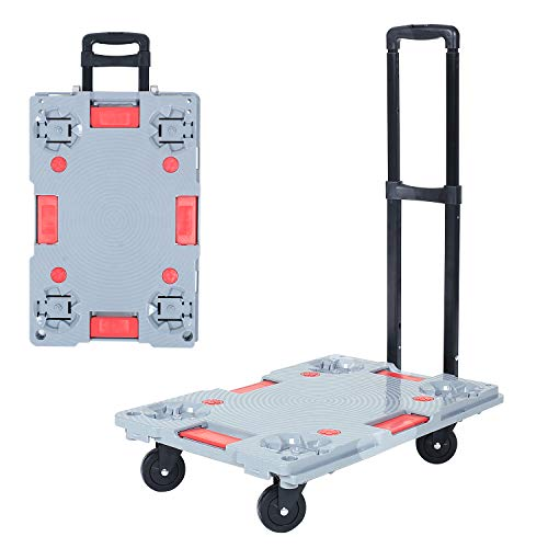 Trolley Dolly Hand Truck Cart, BHONY Transformable Platform Hand Truck, Heavy Duty Hand Truck Load 330LBS, Splicable Utility Dolly Cart for Luggage/Personal/Travel/Auto/Moving and Office