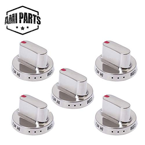 AMI PARTS DG64-00347A Range Oven Gas Stove Knob with Metal Ring Dial Burner Knob Replacement Compatible with Samsung Range Oven-Replaces DG64-00472A DG64-00347B(5PCS)