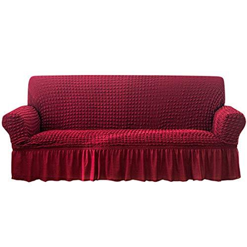 YAOYI Funda elástica para sofá con falda, 1/2/3/4 plazas Seersucker cubierta completa funda protectora de sofá, tela de poliéster y elastano (2 fundas de cojín (45 x 45 cm), color rojo