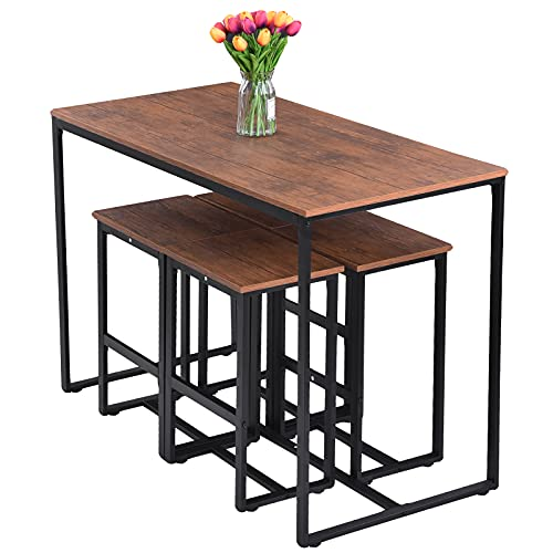 Houssem Bar Table Set, Kitchen Table with 4 Bar Stools, Dinning Table Set, 5 Pieces Breakfast Table and Chair Set for Kitchen, Living Room, Pub, Rustic Brown