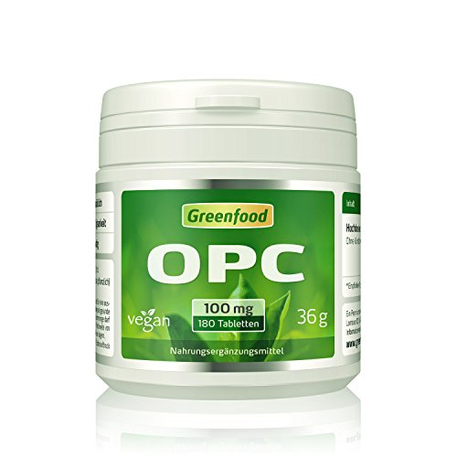 OPC, 100 mg, hochdosiert, 180 Tabletten, vegan – OHNE künstliche Zusätze. Ohne Gentechnik.