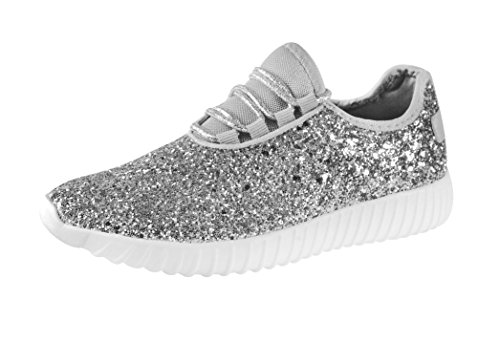 ROXY ROSE Women Fashion Jogger Sneaker - Lightweight Glitter Quilted Lace Up Shoes & Elastic Tongue (8 B(M) US, Silver)