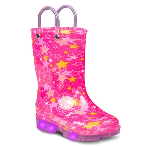 ZOOGS Light Up Kids Toddler Rain Boots for Girls and Boys with Handles, Stars- 11 Big Kid