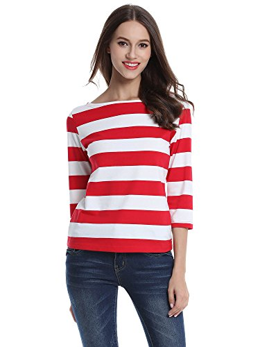 FENSACE Womens 3/4 Sleeve Cotton Red and White Striped T-Shirt