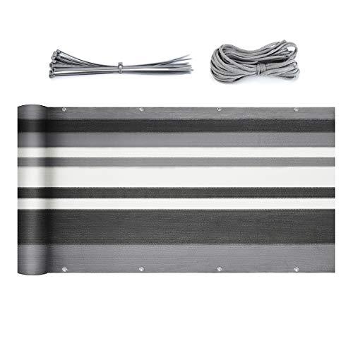 Sekey Balkon Sichtschutz Balkonabdeckung HDPE 220 g/m², Leicht Transparent Wind- und UV-Schutz Wetterfest, mit Ösen, Nylon Kabelbinder und Kordel Graue Streifen 0.9×5m