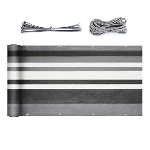 Sekey Balkon Sichtschutz Balkonabdeckung HDPE 220 g/m², Leicht Transparent Wind- und UV-Schutz Wetterfest 90 x 600cm, mit Ösen, Nylon Kabelbinder und Kordel, Grau Streifen