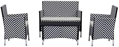 Safavieh Tisch und Stühle, 4-Teiliges Set für den Garten, Rattan, schwarz/weiß, 58 x 109 x 85 cm