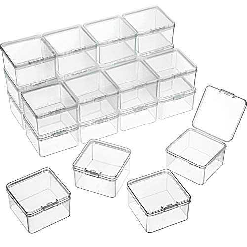 24 Packs Small Clear Plastic Beads Storage Containers Box with Hinged Lid for Storage of Small Items, Crafts, Jewelry, Hardware (2.48 x 2.48 x 1.57 Inches)