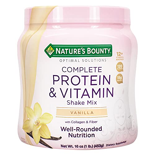 Protein Powder with Vitamin C by Nature's Bounty Optimal Solutions, Contains Vitamin C for Immune Health, Vanilla Bean Flavor, 1 lb