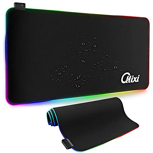 OLLIXI,Mouse Pad Gaming, Tappetino Mouse Gaming RGB con 14 Effetti Luce, Tappetino Mouse XXL(900 X 400 X 4 mm), Superficie Impermeabile e Base in Gomma Antiscivolo,per Tablet,Computer PC,PS4