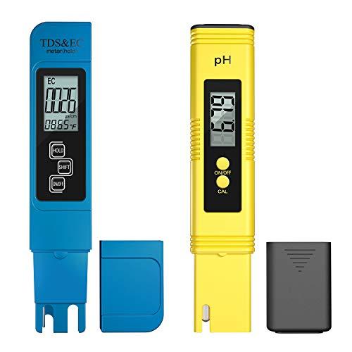 Medidor digital de calidad del agua, medidor de PH, medidor TDS, EC y medidor de temperatura, 4 en 1 para probar agua potable RO, interior, piscina, hidroponía, acuario y más