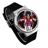 Armbanduhren,Touchscreen LED Uhr Broly Dbs Anime Umgibt wasserdichte Leuchtende Elektronische Uhr, Um Benutzerdefinierte Silver Shell Black Belt Abzubilden