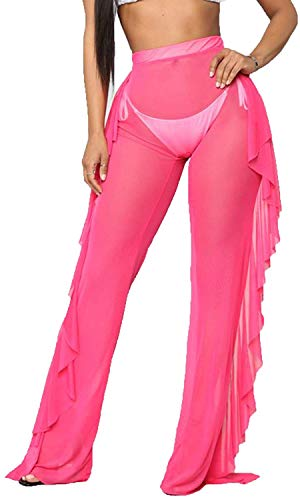 Willow Dance Women's Perspective Sheer Mesh Ruffle Pants Swimsuit Bikini Bottom Cover up Pants (Hot Pink, S)