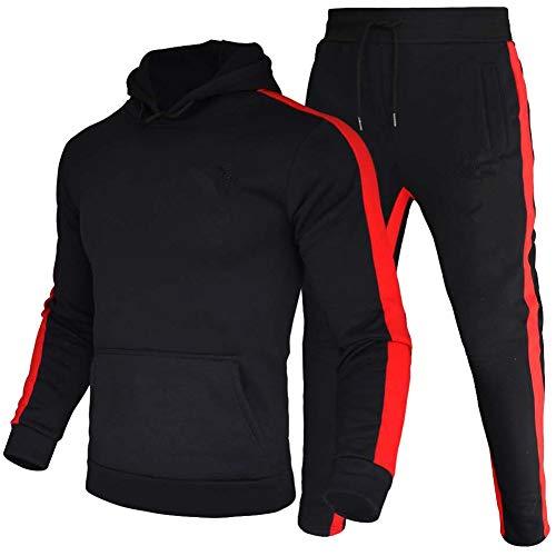 amropi Conjunto de Chandal Jogging para Hombre Sudaderas con Capucha y Pantalones 2 Piezas 6XL,Negro
