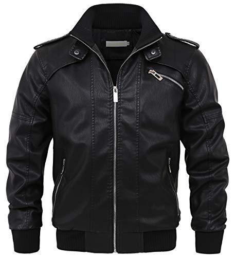 chouyatou Men's Casual Full Zip Lightweight Moto Pu Leather Quilted Bomber Jacket Epaulet (X-Large, Black)