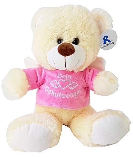 Unbekannt 1 x Bärchen mit Shirt Dein Schutzengel, ca. 40 cm, Teddybär, Teddy, Plüsch (rosa)