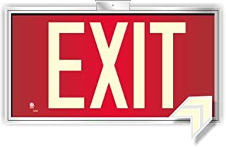 Photoluminescent Exit Sign Red - Framed Flag/Ceiling Mount (Removable Arrows) Code Approved UL 924 / IBC / NFPA