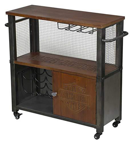 Harley-Davidson Industrial Bar & Shield Logo Wooden & Metal Bar Cart HDL-19707