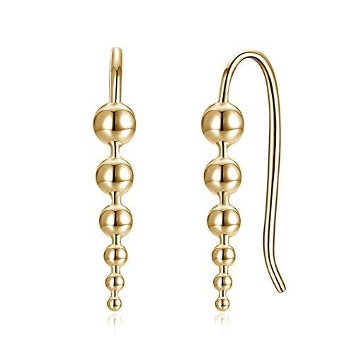 iKulilky Mujer Perlas Pendientes Pendientes de plata hängend Espuela Pendientes de regalo de boda joyería para mujeres, dorado, talla única