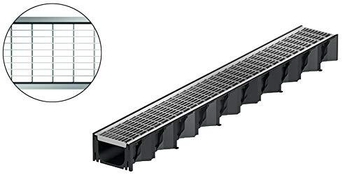 1m ACO Hexaline 2.0 Entwässerungsrinne Maschenrost Stahl verzinkt Bodenrinne Terrassenrinne