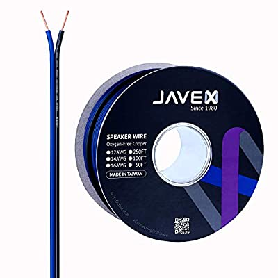 JAVEX Speaker Wire 16-Gauge AWG [Oxygen-Free Copper 99.9%] Stranded Copper, Blue/Black, Cable for Hi-Fi Systems, Amplifiers, AV receivers and Car Audio Systems, 50FT [15.25M]