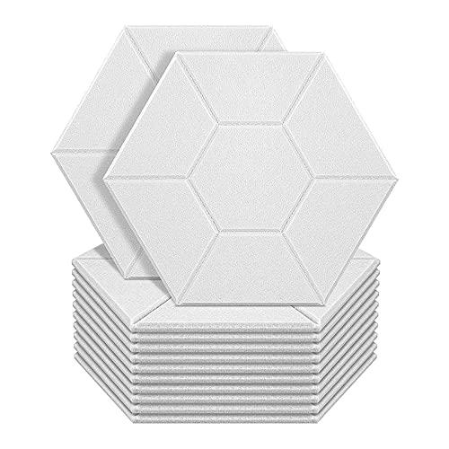 Timagebreze Paquete de 12 Paneles AcúSticos Acolchados a Prueba de Sonido, Panel Absorbente Hexagonal a Prueba de Sonido Paneles de Pared de Borde Biselado de Alta Densidad