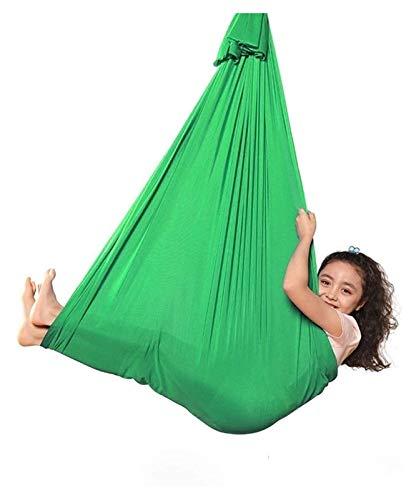SHUHANG Terapia Interior Swing sensorial con Montaje Interior al Aire Libre Abrocha Ajustable Hamaca para niños Austism ADHD (Color : Green, Size : 400x280cm)