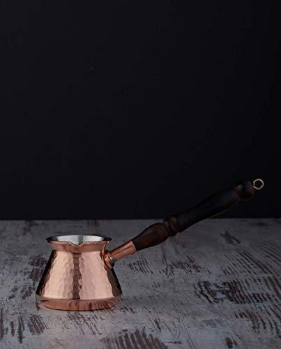 DEMMEX Kaffeekanne aus gehämmertem Kupfer mit Holzgriff und Holzlöffel, für 3 Personen (Kupfer)