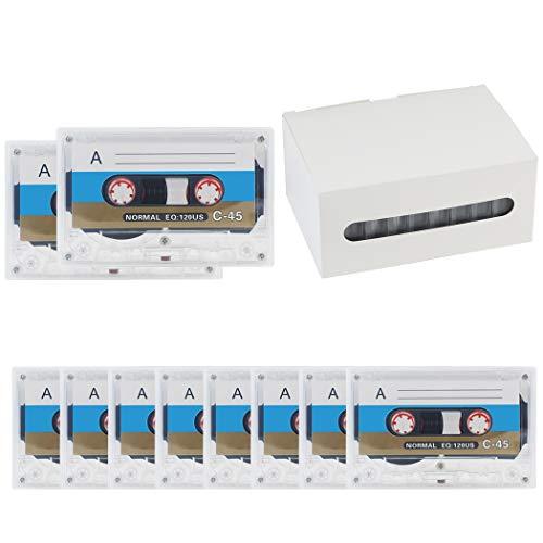 COOFIT Audio Kassetten 10 Stück Cassette Audio Tape 60 Minuten Geringem Rauschpegel Musikkassetten Audiokassetten für Musik und Lernen Leerkassetten