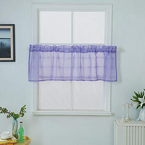 zsbdb5edvq Short Tulle Window Curtain, Durable Semi Shading Through Rod Sheer Voile, Balcony Hotel Living Room Valance Blackout Drape Gauze Privacy Decor Door Blinds Purple 7490cm