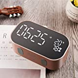 Homyl Réveil Haut-parleur LED Digital Alarm Horloge Display Mirror Bluetooth - Or rose