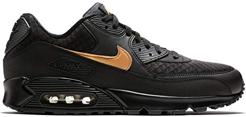 Nike Mens Air Max 90 Lifestyle Shoes (8) Black/Metallic Gold