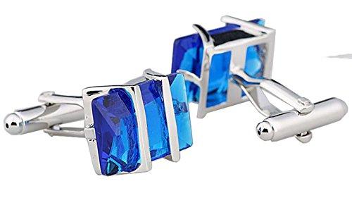 GuDeKe Bijoux Couleur Cristal français Boutons de Manchette de Chemise d'homme (Bleu)